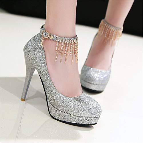 Glitter Tacco Vitalo Plateau Da Eleganti Caviglia Fibbia Spillo Decolte Con Alto Scarpe Donna Argento Sposa Cinturino A UwAHwqtSnx