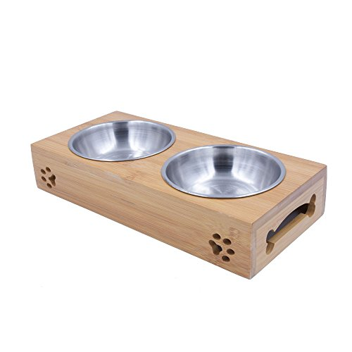 Raised Bamboo Food and Water Bowls Stand Feeder for Puppies, Small Dogs and Cats, Two Stainless Steel Bowls