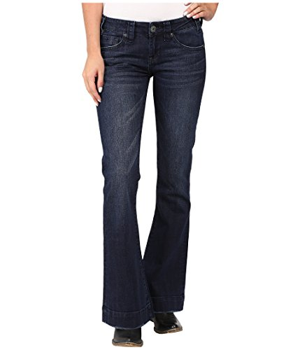 Rock & Roll Cowgirl Women's Dark Wash Low Rise Trouser Western Jeans, 26 x 32
