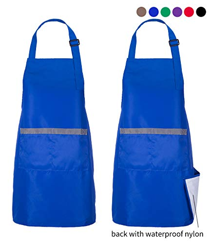 2 Pack Double Layer Waterproof Adjustable Lightweight Apron for Men Blue - 2 Pockets