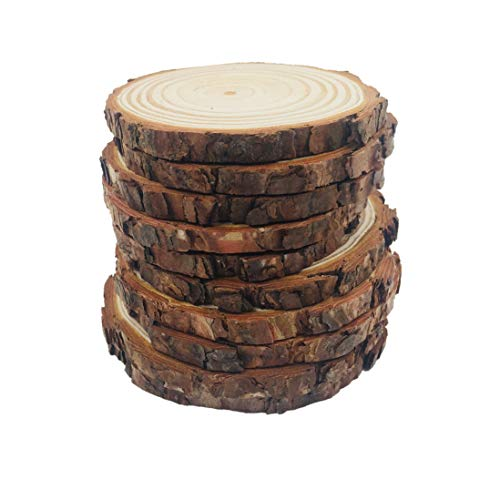 10pcs 3.9-4.7 Unfinished Natural Wood Slices with Bark for DIY Crafts Christmas Rustic Wedding Ornaments