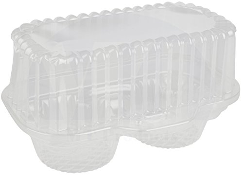 2 Compartment Hinged Clear Cupcake/Muffin Takeout Container by MT Products - (15 Pieces)