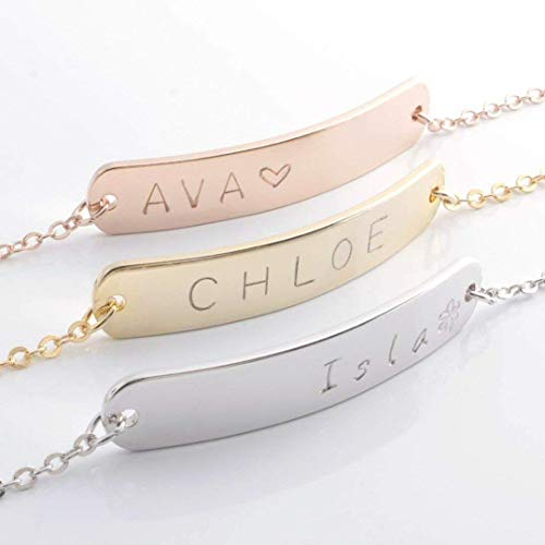 ❤️Best Mother's Day Gift❤️ A Delicate Name Bar Bracelet - Dainty 16K Gold Rose Gold Silver Handstamped Letter Personalized Delicate Plate Initial Charms Bracelet Bridesmaid Gift ()