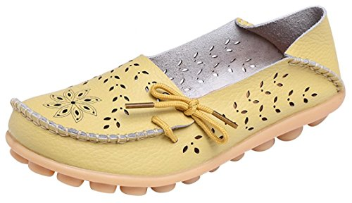 Yellow Genuine Leather (UJoowalk Women's Light Yellow Genuine Leather Cowhide Driving Loafer Shoes Hollow Out Boat Casual Flats - Size 5)