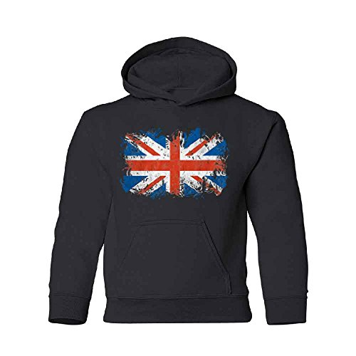 Zexpa Apparel UK Flag Union Jack Vintage British Youth Hoodie Brand Sweatshirt Black Youth ()