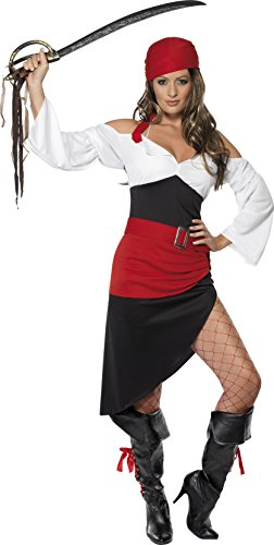 Wench Costumes Uk (Smiffy's Women's Sassy Pirate Wench Costume, Top, Skirt, Belt and Headscarf, Pirate, Serious Fun, Size 6-8, 33356)