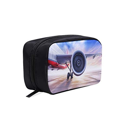 Passenger Aircraft Turbine Waiting To Leave Portable Travel Makeup Cosmetic Bags Organizer Multifunction Case Small Toiletry Bags For Women And Men Brushes Case