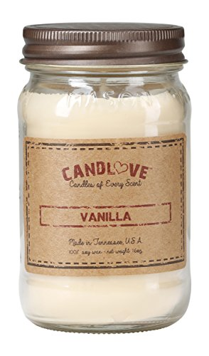 Mason Jar Soy Candle - CANDLOVE Vanilla Scented 16oz Mason Jar Candle 100% Soy Made in The USA (16oz)