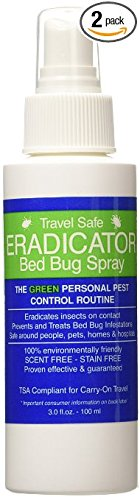 Travel Safe Bed Bug ERADICATOR Spray 2-Pack, Non-Toxic, Ready to Use Travel Size Bed Bug and Insect Spray - 3oz by ERADICATOR