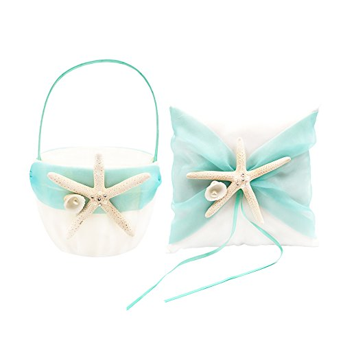 Abbie Home Organza Bowknot Wedding Ring Pillow + Flower Basket Set Romantic Beach Wedding Party Favor (Turquoise)