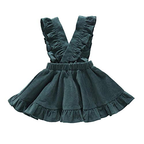 YOUNGER TREE Baby Girls Velvet Suspender Skirt Infant Toddler Ruffled Casual Strap Sundress Summer Outfit Clothes (Green, 12-18 -
