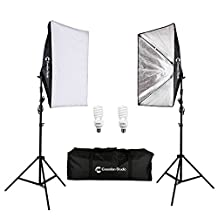 CanadianStudio Pro rapid softbox Continuous Lighting kit for Photography Softbox Fluorecent Video studio light Kit 2 x softbox 2x 45 watt 5500K fluorescent light bulbs 2x 7' fully adjustable stands