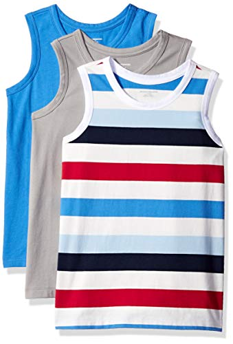 Amazon Essentials Little Boys' 3-Pack Tank, Alloy/Multi Stripe White/Palace Blue, M