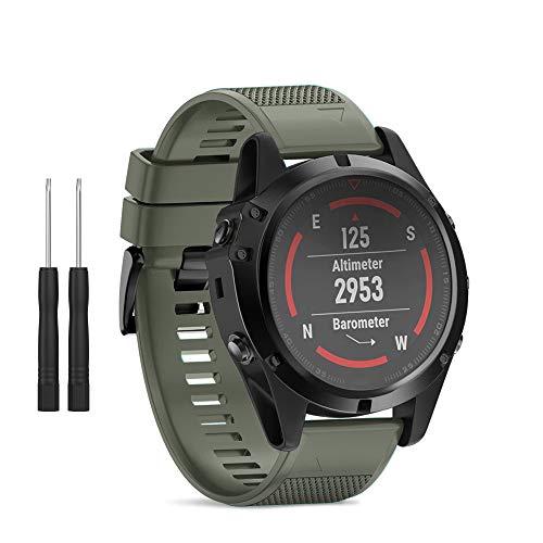 - HSWAI Compatible BandsReplacement for Garmin Fenix 5X/Fenix 5X Plus/Fenix 3/Fenix 3 HR,26mm Width Soft Silicone Watch Strap with Black Metal Buckle for Women & Men(Army Green)