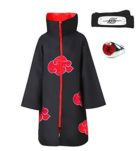 HappyShip 3Pcs Halloween Cosplay Akatsuki Style Cloak Costume with Headband and Ring Itachi Cosplay for Naruto Fans (X-Large, Cloak with Stand Collar) -