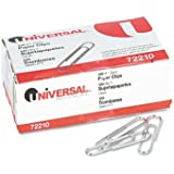 Universal Paper Clips, Smooth, Size No. 1, Silver, 100/BX, 10 Boxes/Pack (UNV72210)