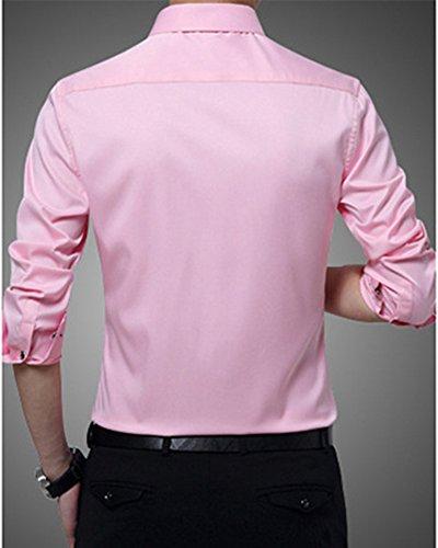 Matelassé Décontractée Chaude Couleur Shirt Pink Chemise Longues Doublure Slim Affaires Tops Solide Fit Homme Polaire Manches 6pwIIq