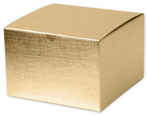 Solid Gift Box - Gold Linen Foil One-Piece Gift Boxes, 6 x 6 x 4'' (100 Boxes) - BOWS-541-664-15 by Miller Supply Inc