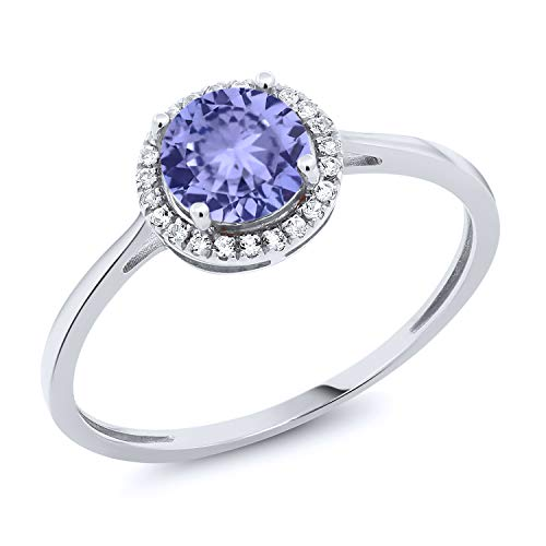 Gem Stone King 10K White Gold Diamond Engagement Ring Round Blue Tanzanite 1.12 cttw (Size - Diamond Ring Round Tanzanite