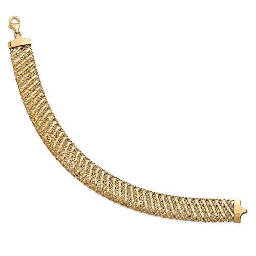 14K Yellow Gold Jewelry Mesh Fancy Bracelets Solid 12 mm 7.25 in Leslie's Fancy Stretch Bracelet ()