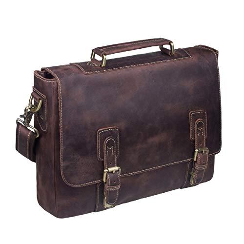 S-ZONE Men's Crazy Horse Leather Satchel Briefcase Shoulder Bag Messenger Bag 14