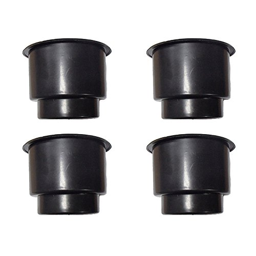 Four Jumbo Black Plastic Cup-Holder Inserts Made for Boats RVs Campers Trucks Decks and More ()