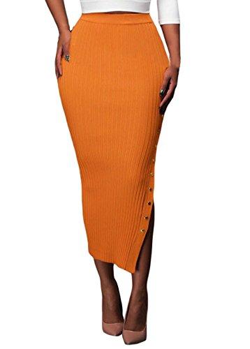 Tiksawon Women Sexy Button Side Slit Ribbed Bodycon Long Clubwear Skirt M Orange