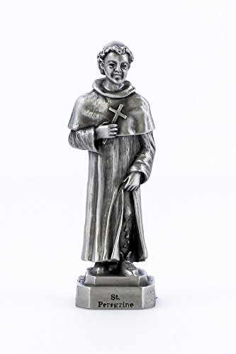 3.5 Inch Pewter Statue - Inspire Nation St Peregrine Statue Religious Figurine Solid Fine Pewter 3.5 inches
