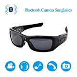 CAMXSW Bluetooth Camera Sunglasses Full HD 1080P Video Recorder Camera with UV Protection Polarized Lens, A Great Gift for Your Family and Friends, Black