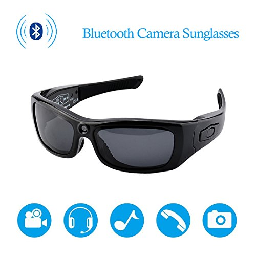 CAMXSW Bluetooth Camera Sunglasses Full HD 1080P Video Recorder Camera with UV Protection Polarized Lens, A Great Gift for Your family and Friends, Black by CAMXSW