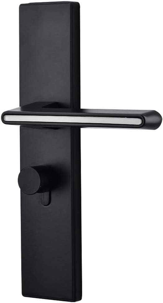 Manija de puerta, cerradura de puerta luminosa silenciosa negra interior, cerradura de puerta de dormitorio, puerta de madera de habitación con manija recta de llave, manija de aleación de aluminio