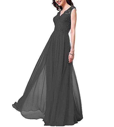 Schwarz Abendkleider Hochzeit Brautjungfer Ballkleider Kleider V Carnivalprom Spitze Elegant Für Damen Ausschnitt Lang wCxa7