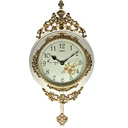Fabulous Antique Decorative 24X15 Polyresin Hand-Painted Wall Clock w/Swinging Pendulum - White & Bronze