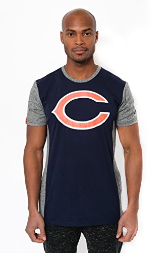 Chicago Bears Crew Shirt - NFL Men's Chicago Bears T-Shirt Raglan Block Short Sleeve Tee Shirt, Medium, Navy