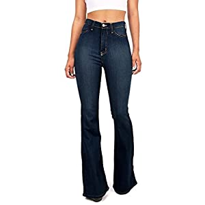 Women's Juniors Trendy High Waist Slim Denim Flare Jeans Bell Bottom Pants 26