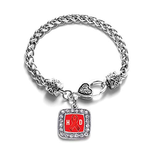 Inspired Silver - Heart Disease Awareness Ribbon Braided Bracelet for Women - Silver Square Charm Bracelet with Cubic Zirconia Jewelry