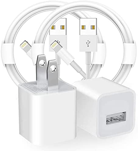 iPhone Charger, MFi Certified 2 Pack iPhone 8 Charger USB Fast Wall Charger Travel Plug with 2 Pack USB Charging Cable Cord Compatible iPhone 11 XS/XS Max/XR/X 8/7/6/6S Plus SE/5S/5C