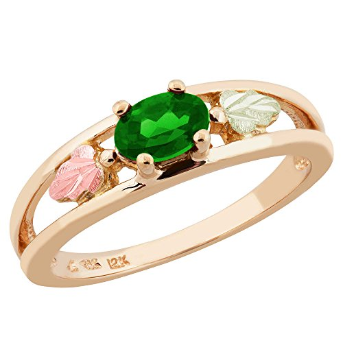 Oval Created Emerald Ring, 10k Yellow Gold, 12k Green and Rose Gold Black Hills Gold Motif, Size 7.5