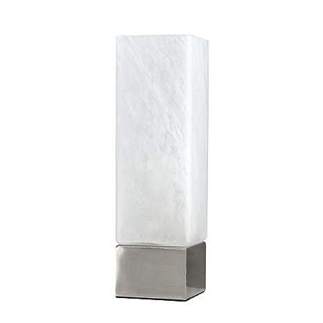 MiniSun - Lámpara de mesa táctil regulable Chantal - moderna con forma cuadrada y pantalla de cristal blanco satinado