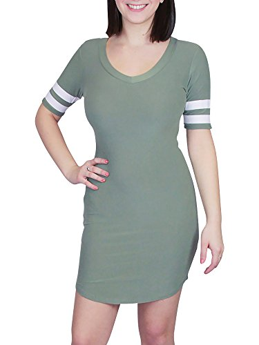 Football Dress - No Comment Juniors Womens V Neck T-Shirt Dress With Football Stripe Raglan Sleeve Sea Spray/White Size S
