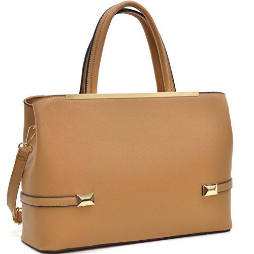 MKY Women Leather Tote Briefcase Laptop and Tablet Bag Large Handbag w/ Removable Shoulder Strap Tan