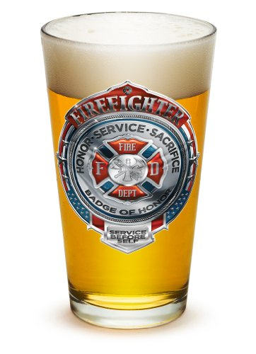 Pint Glasses - Firefighter Gifts for Men or Women - Fire Honor Service Sacrifice Chrome Badge Beer Glassware - Beer Glass with Logo (16 Oz)