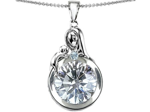 Star K Sterling Silver Loving Mother with Child Family Pendant with Round 10mm