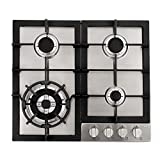 Cosmo 640STX-E 24' Gas Cooktop with 4 sealed Burners, Counter-Top Cooker Cooktop with Cast Iron Grate Stove-Top, Melt-Proof Metal Knobs ( Stainless Steel )