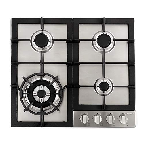 Cosmo 640STX-E 24″ Gas Cooktop with 4 sealed Burners, Counter-Top Cooker Cooktop with Cast Iron Grate Stove-Top, Melt-Proof Metal Knobs ( Stainless Steel )