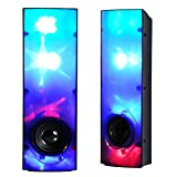 MoreBuyBuy Novel Line-in Laptop Desktop Computer Stereo Speakers with AUX Mode,LED Pulse Light Dance,USB Power for Party and More Outdoor Exciting Activities