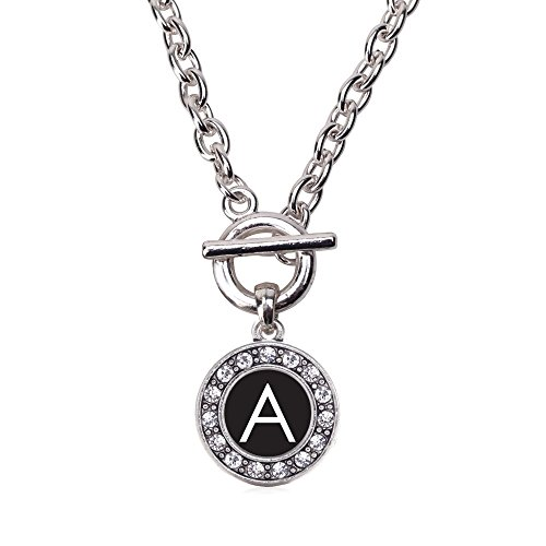 Inspired Silver My Initials - Letter A Circle Charm Toggle Necklace Clear Crystal Rhinestones