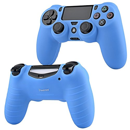 Insten Blue Silicone Skin Case with FREE Black Vertical Console Stand Compatible With Sony PlayStation 4 (PS4)