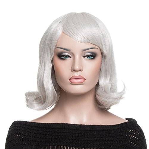 YOPO Wig, Short Wavy Silvery Wigs for Women with Free Wig Cap & Bobby Pins, 16'' Cosplay Medium Length (Halloween Costumes With Colored Wigs)