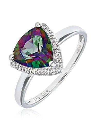Revoni - Bague en or blanc 9 carats, topaze mystique verte taille triangulaire et diamants
